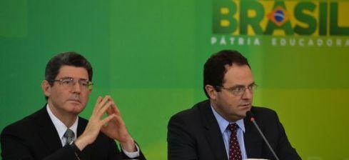 Os Ministros Joaquim Levy e Nelson Barbosa anunciam o corte orçamentário